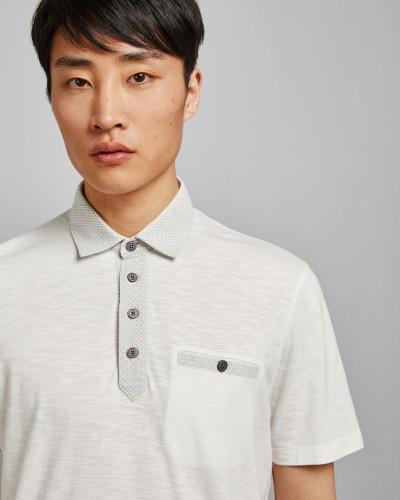 Baumwoll-Polohemd mit Geometrischem Print Am Kragen
