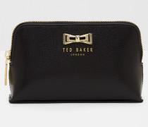 Make-up-Tasche aus Leder mit Geo-Schleife