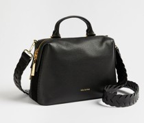 Braided Handle Leather Tote Bag