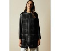 Karierter Mantel mit Ärmeln aus Kunstleder
