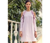 Gestreiftes Schulterfreies Tunika-kleid Aus Baumwolle