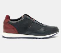 Zweifarbige Sneakers Mit Lederborten