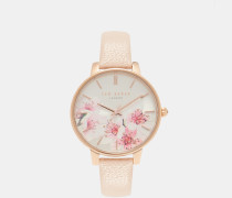 Uhr Mit Blossom-print Auf Dem Zifferblatt