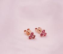 Ohrringe Mit Rotgold, Turmalin Und Diamant