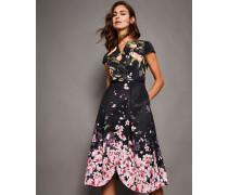 Peach Blossom Wrap Midi Dress