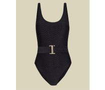 Textured Belted Swimsuit