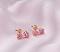 Ohrringe Mit Rotgold, Turmalin Und Diamantschleife