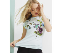 Tailliertes T-Shirt mit Spring Meadow-Print