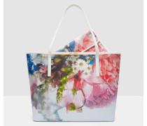 Leder-Shopper mit Focus Bouquet-Print