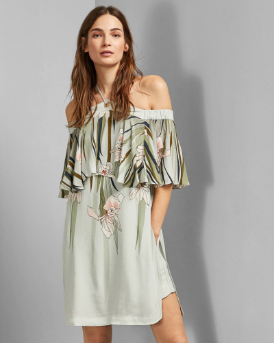 Schulterfreier Playsuit mit Willow-Print