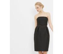 Trägerloses, strukturiertes Kleid mit Schleife