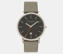 Uhr mit Lederarmband und geometrischem Print