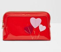 Kleine Kosmetiktasche mit Herz-Applikation