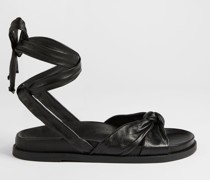 Knotted Leather Flat Sandal