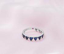 Kronen-ring Mit Weißgold Und Blauem Saphir