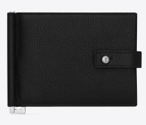 SAC DE JOUR Portemonnaie aus schwarzem Narbenleder mit Geldscheinclip