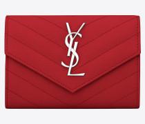 kleines monogramme umschlagportemonnaie aus rotem strukturleder mit matelassé-nähten