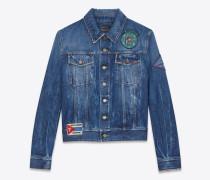 Jeansjacke aus blauem Denim in Shadow-Waschung mit mehreren Patches