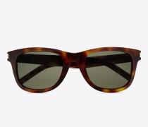 klassische 51 sonnenbrille mit glänzend havannabraunem acetat-gestell und grünen gläsern