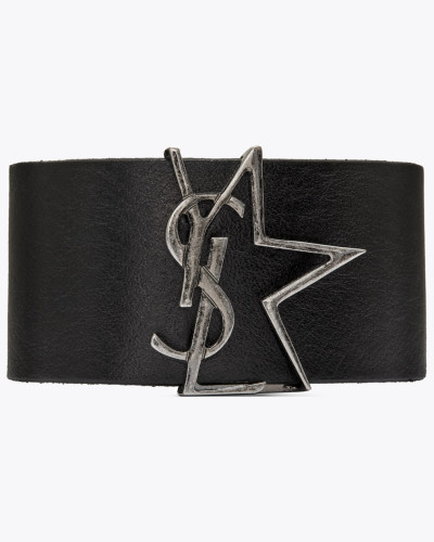 YSL star cuff bracelet in leather and metal