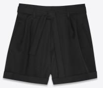 hochgeschnittene shorts aus schwarzem grain-de-poudre