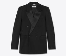 Zweireihige, Quadratisch Geschnittene, Lange Smoking-Jacke aus Wolltwill Schwarz
