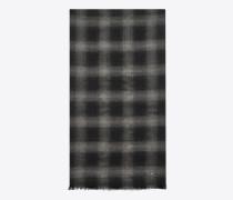 signature knitterschal aus schwarzem und grauem flanell aus wolle, kaschmir und seide mit karojacquard