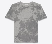 Ausbrenner-T-Shirt mit Saint Laurent Logo Grau