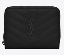 Monogram Compact Zip Around Wallet In Grain De Poudre Embossed Leather Schwarz
