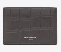 classic saint laurent paris business card case in dark anthracite crocodile embossed leather