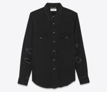 western-hemd aus schwarzem trash-denim im vintage-look der 70er mit abgenutzter optik