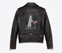 Klassische Bikerjacke aus schwarzem Vintage-Leder mit Katzenprint