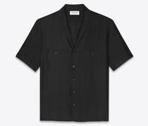 Hemd aus Gestreiftem Seiden-Voile Schwarz