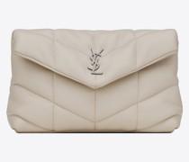 Puffer Kleine Tasche aus Gestepptem Lammleder Weiß