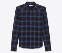 westernhemd aus schwarzer und blauer baumwolle und tencel mit karomuster