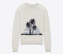 SUNSET Pullover aus gebrochen weißem und schwarzem Mohair