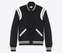 klassische teddy-jacke aus schwarzer wolle und grauweißem leder