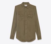 klassisches westernhemd aus khakifarbenem twill