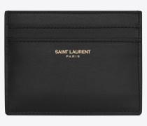klassisches saint laurent paris karten etui aus schwarzem leder