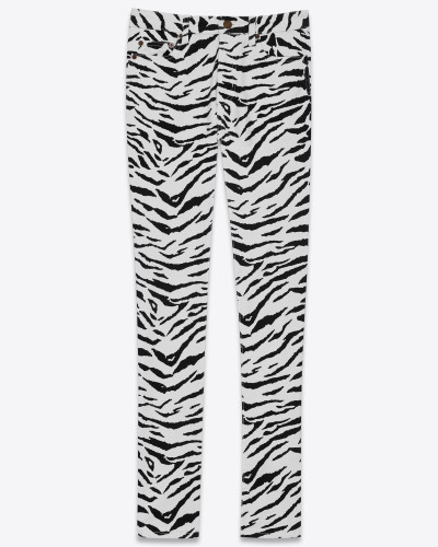Skinny jeans in black and white zebra-print stretch denim