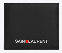 east/west portemonnaie in schwarz mit saint laurent-signaturprint.