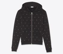 Reißverschluss-Hoodie mit Saint Laurent Logo Ösen Schwarz