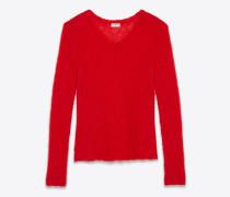 Lose gestrickter Pullover mit V-Ausschnitt aus rotem Mohair