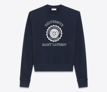 Marineblaues Sweatshirt aus Fleece mit Saint Laurent Université-Print