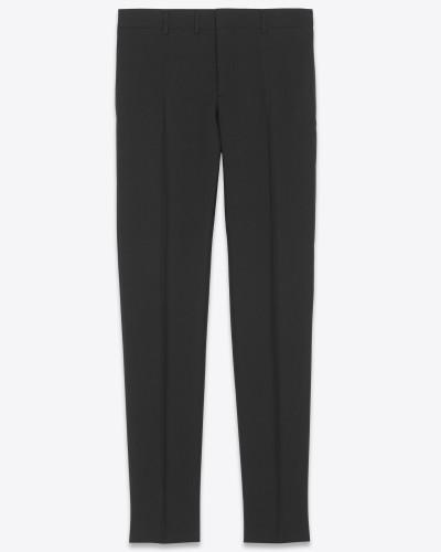 anzughose mit frontseitiger bügelfalte aus schwarzer wollgabardine