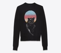 panther pullover aus schwarzem strickjacquard