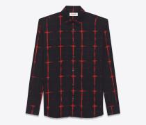 signature hemd mit yves-kragen und tie-dye-motiv in schwarz und rot