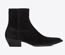 Lukas 40 Stiefel aus Schwarzem Veloursspaltleder Schwarz