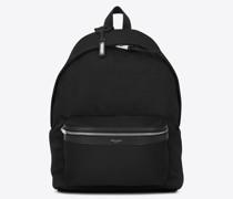 Rucksack aus Schwarzem Nyloncanvas Leder Schwarz