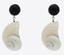 Ohrringe mit Muschelanhänger aus Metall, Holz Muschel Weiß